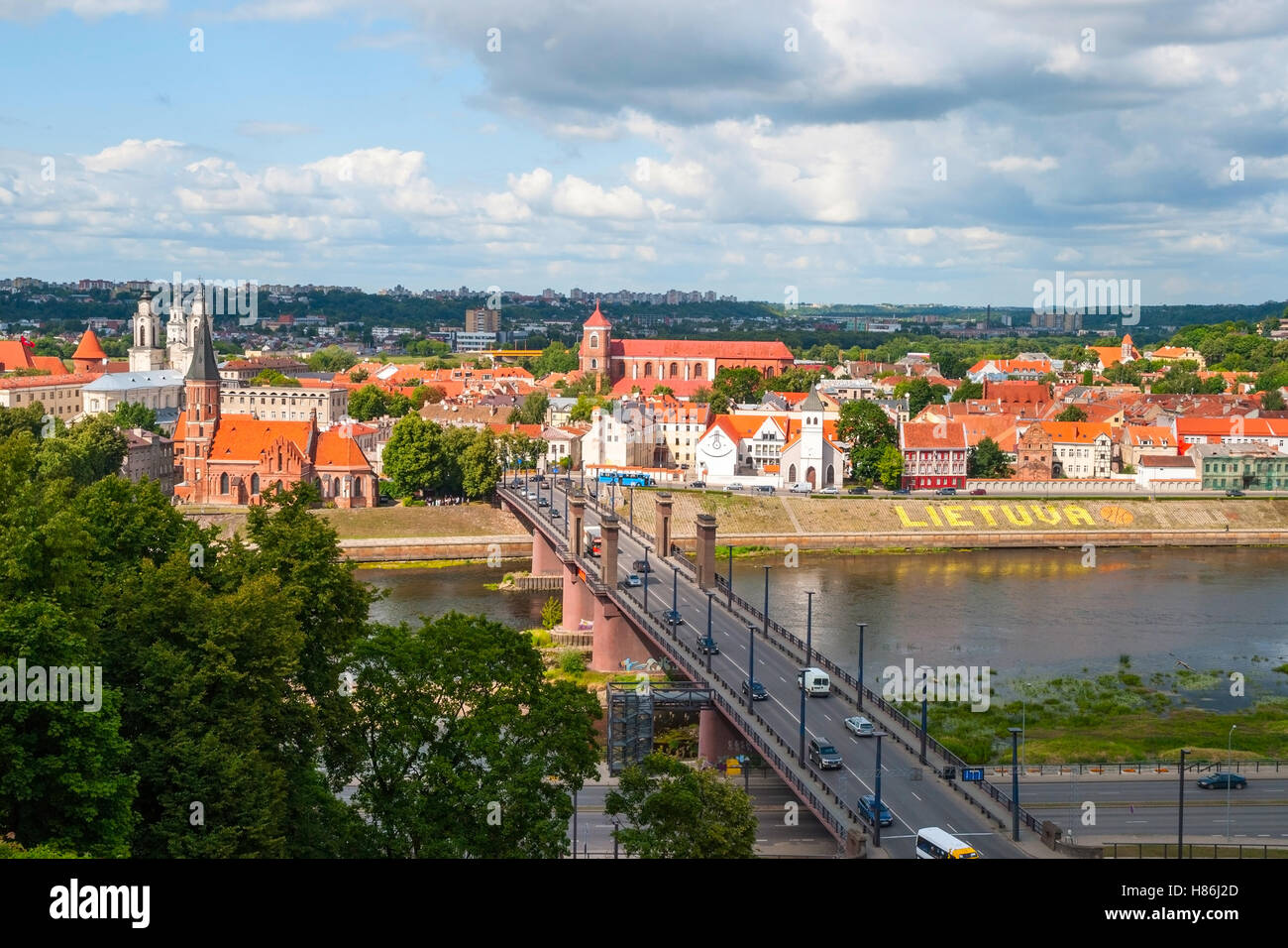 Skyline of Kaunas city with river and bridge, Lithuania - Stock Image