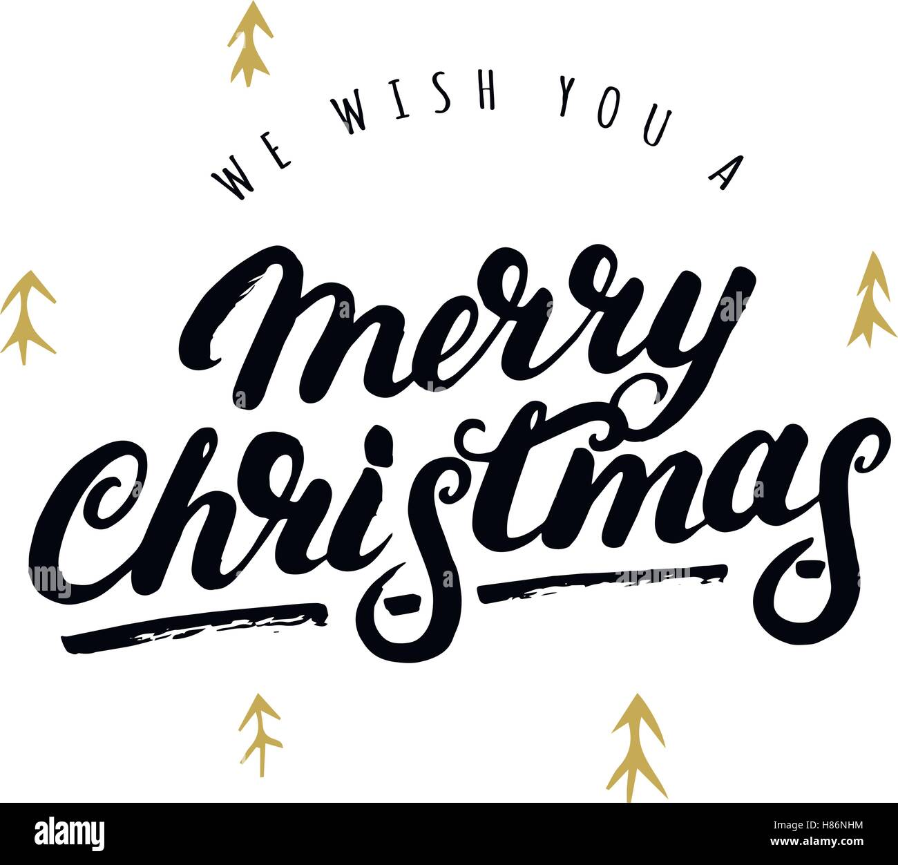 We wish you a Merry Christmas hand written lettering with hand drawn ...