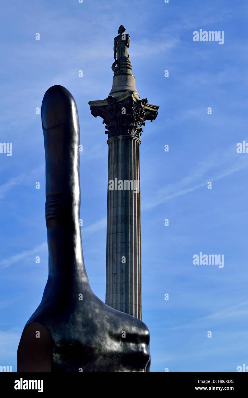 London, England, UK. Trafalgar Square fourth plinth: 'Really Good' (by David Shrigley) - 7m-high sculpture - thumbs Stock Photo