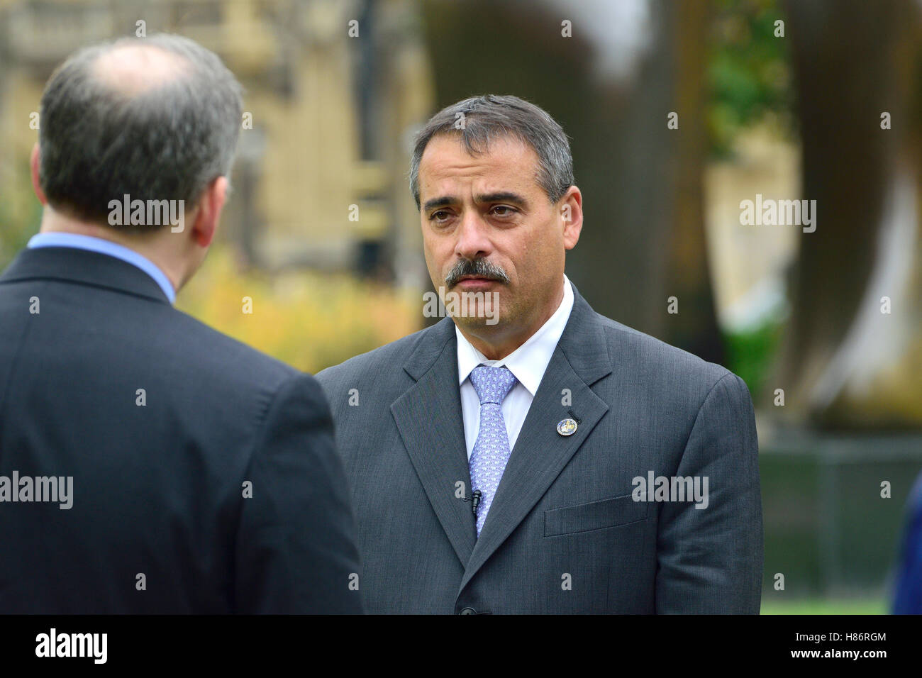 Thomas Galati - New York City Police Department Chief of Intelligence - being interviewed on College Green, Westminster, - Stock Image