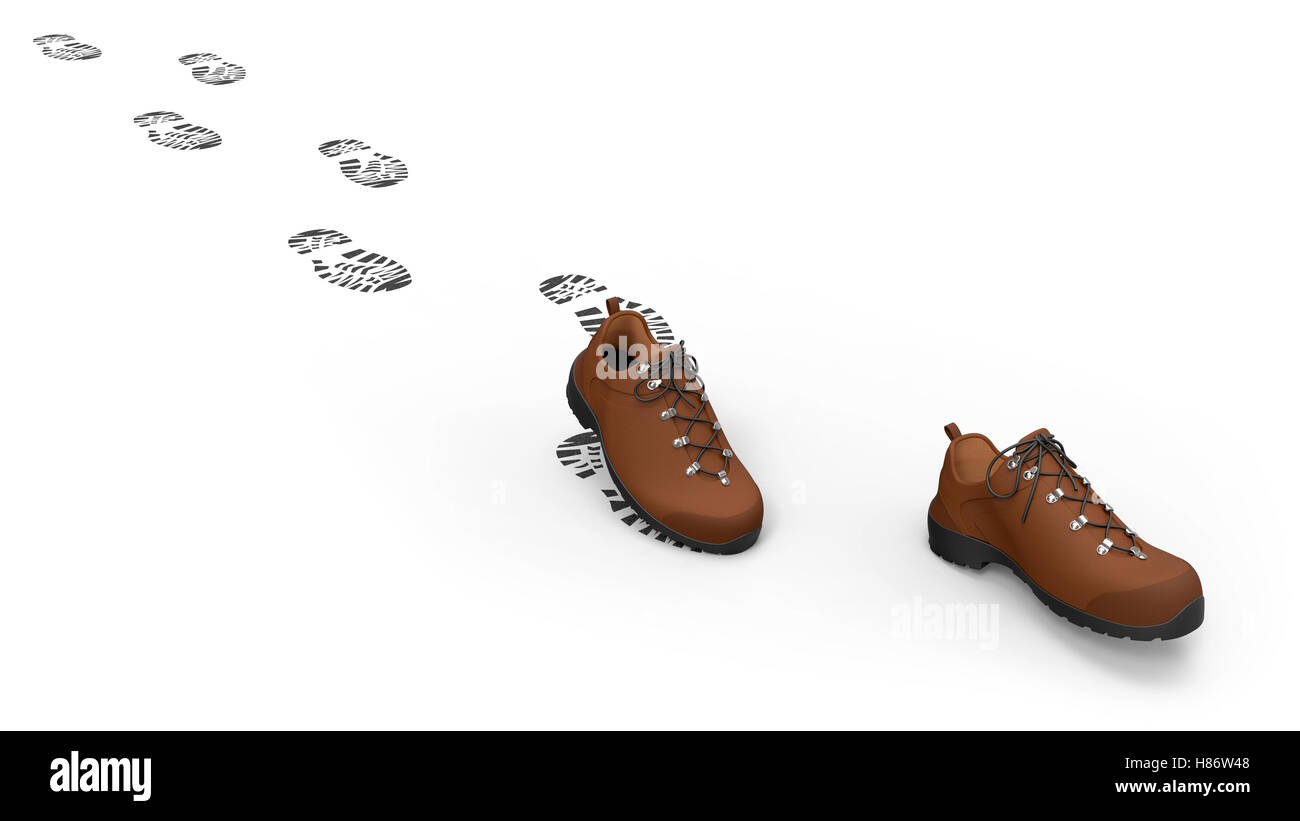 Walking shoes with traces isolated on white background 3D rendering - Stock Image