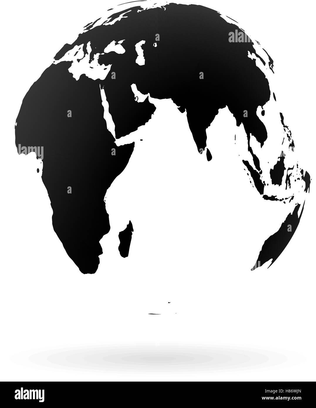 Highly Detailed Earth Globe Symbol, Arabian Countries, China, India. Black  On White Background.
