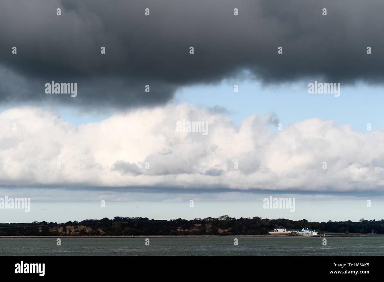 Menai Strait opposite  Caernarfon, Wales. - Stock Image
