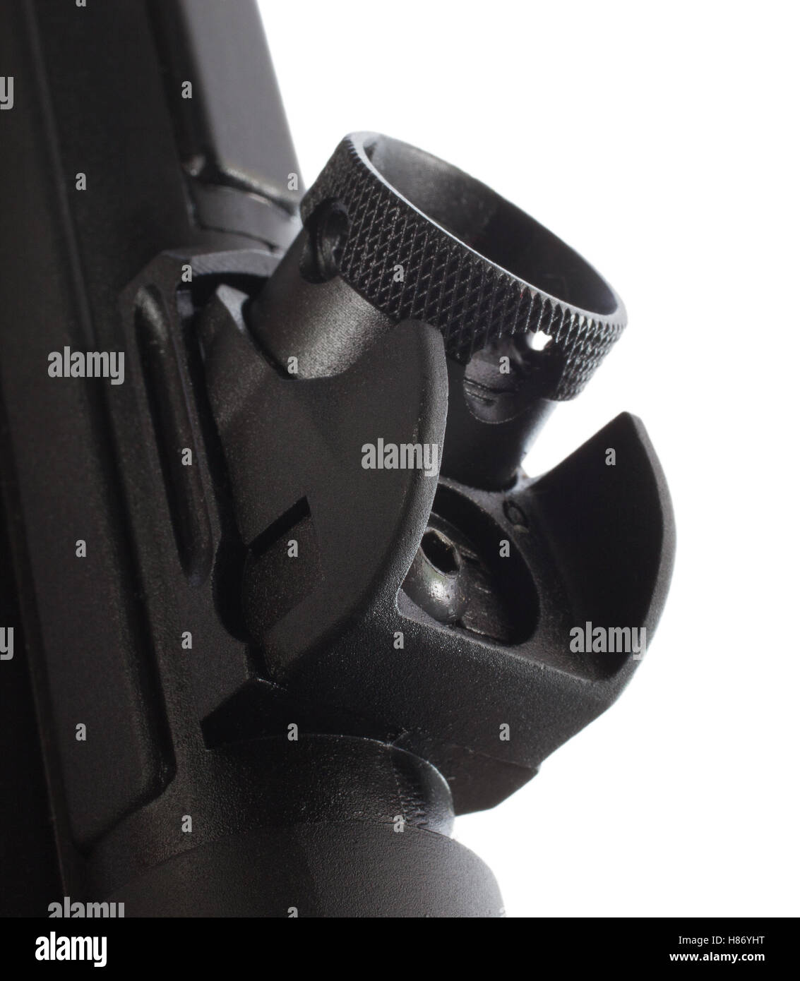 Rear sight on an assault rifle that rotates - Stock Image