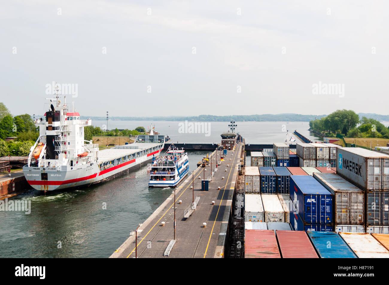Approaching Kiel Canal, Germany - Stock Image