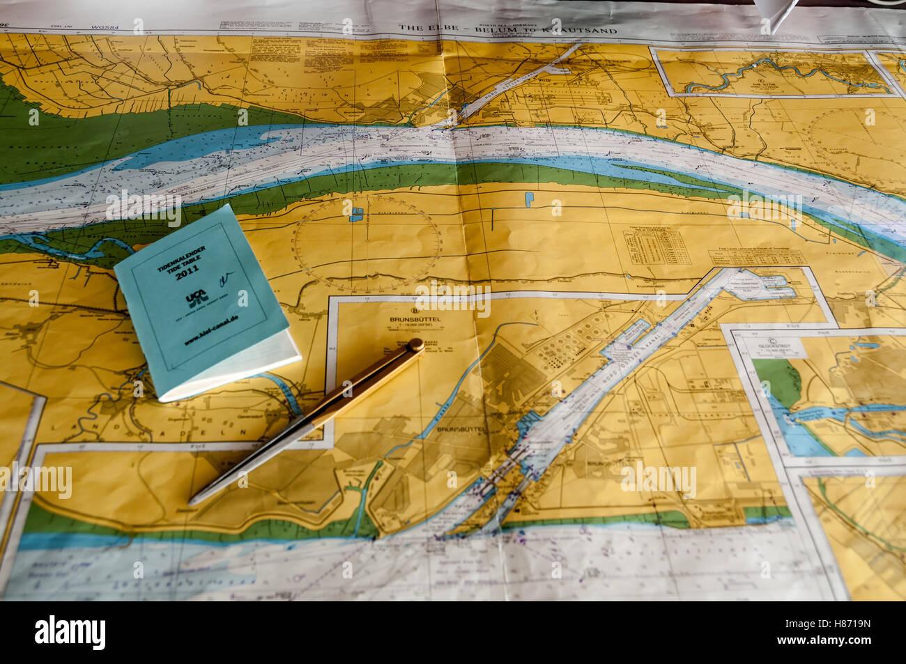 Navigation through Kiel Canal, Germany - Stock Image