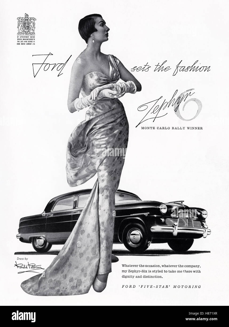 1950s advert advertising from original old vintage 50s English magazine dated 1953 advertisement for Ford Zephyr - Stock Image