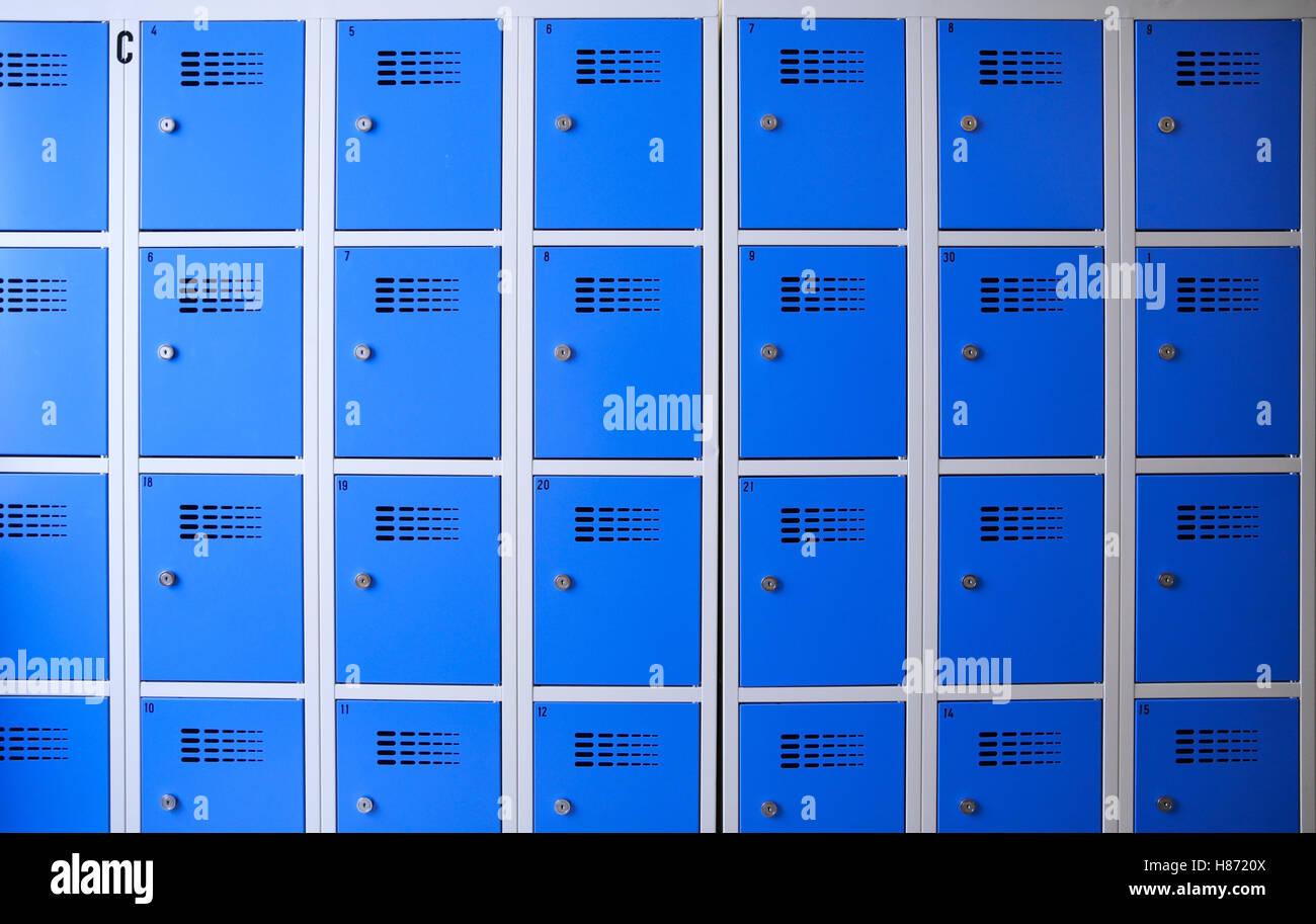 Metal Lockers Stock Photos & Metal Lockers Stock Images - Alamy on blue tools, blue printers, blue screens, blue folders, blue first aid, blue pallets, blue benches, blue containers, blue files, blue floors, blue bar, blue linen, blue mailboxes, blue signs, blue boxes, blue scales, blue library, blue cupboards, blue zebra, blue locks,
