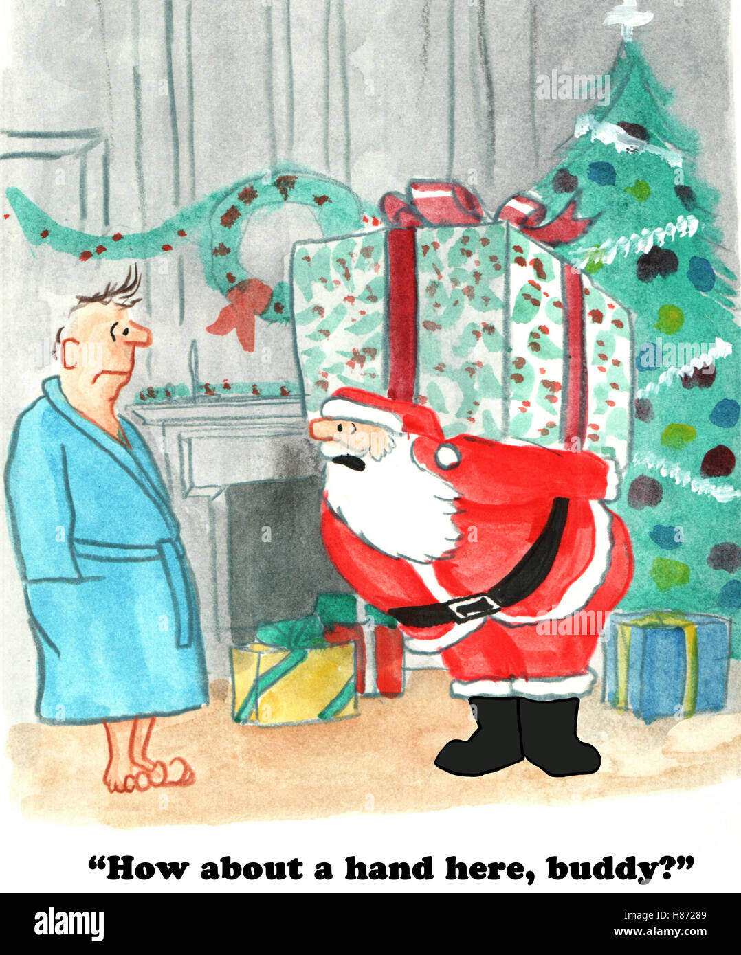 Color Christmas cartoon showing Santa Claus carrying a very heavy ...