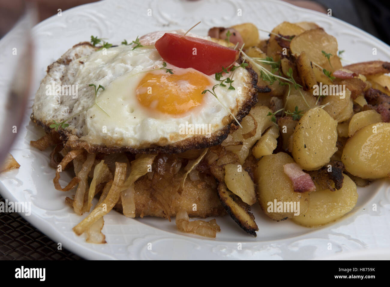 Food on a plate in Germany. Sept 2016. Hearty food in Hillesheim, Germany. - Stock Image