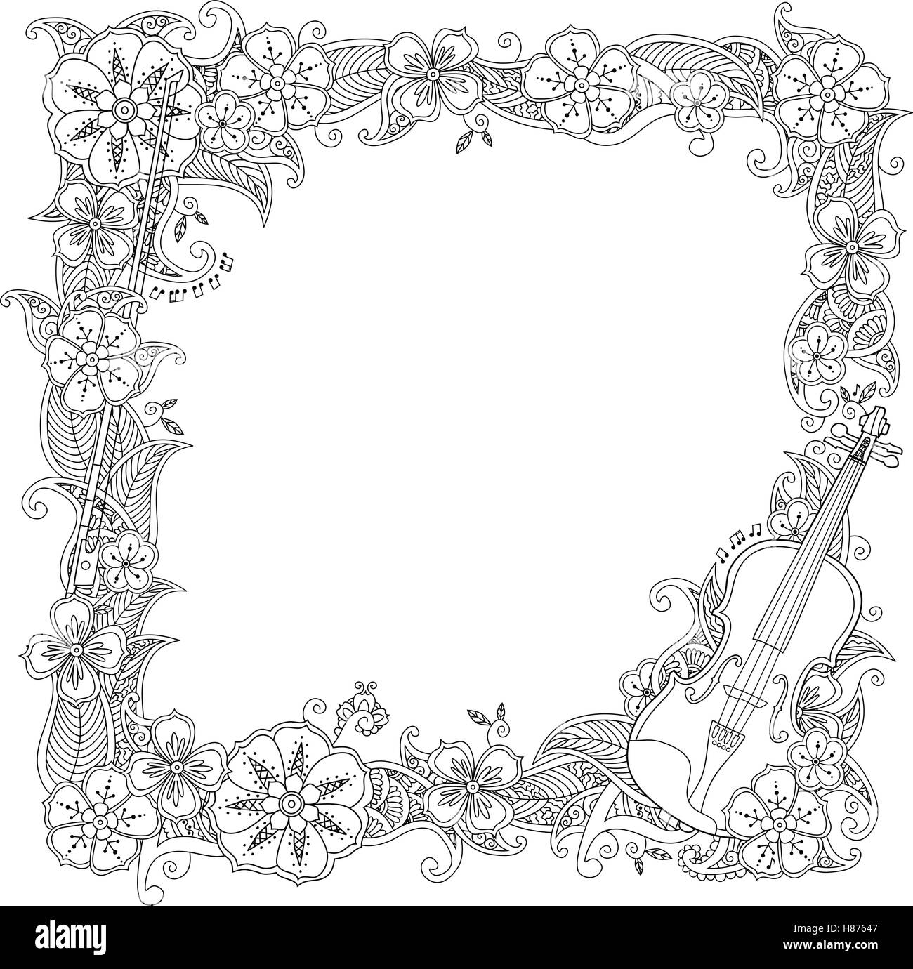 coloring page border square frame with violin isolated on white