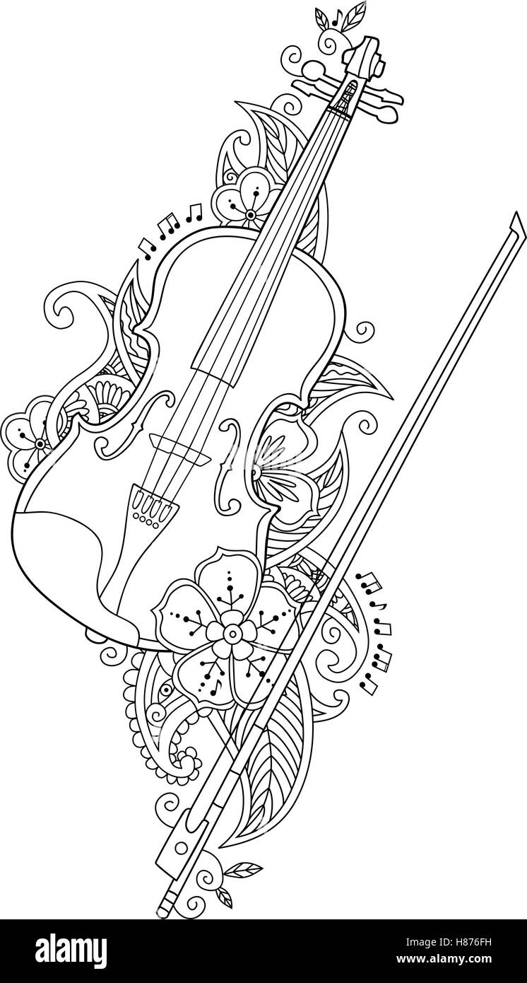 Coloring Page Violin And Bow With Flowers Leafs In Floral