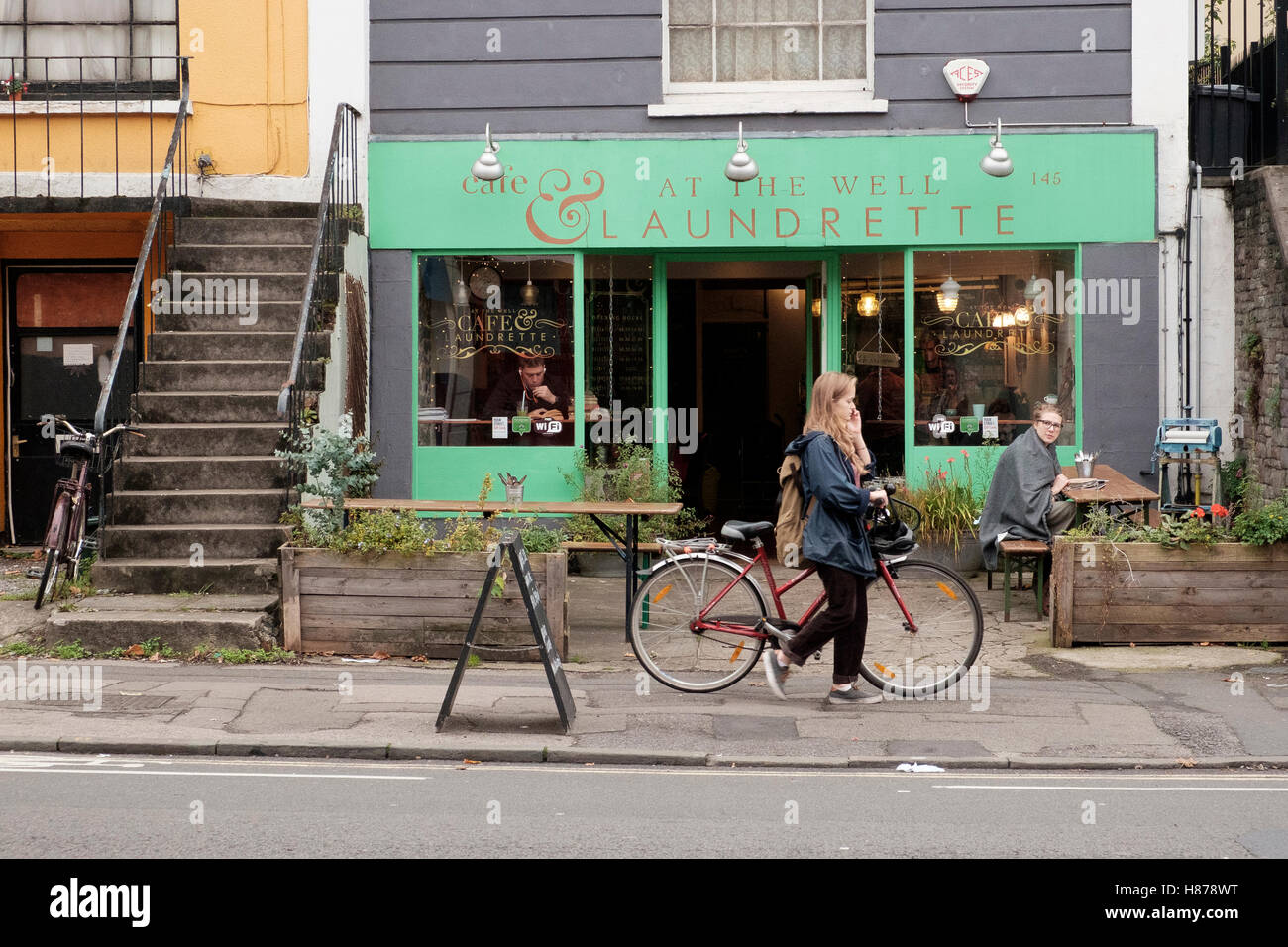 Cafe at the Well Laundrette - a successful independent business on Cheltenham Road, Bristol - Stock Image