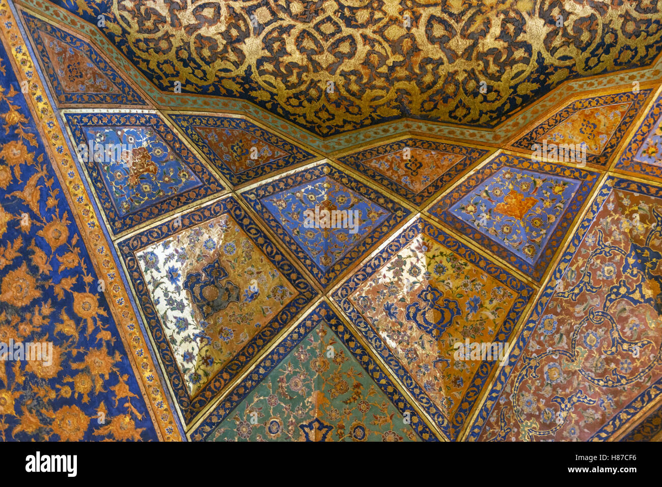 Colorful art work of forty columns palace in Isfahan Iran - Stock Image