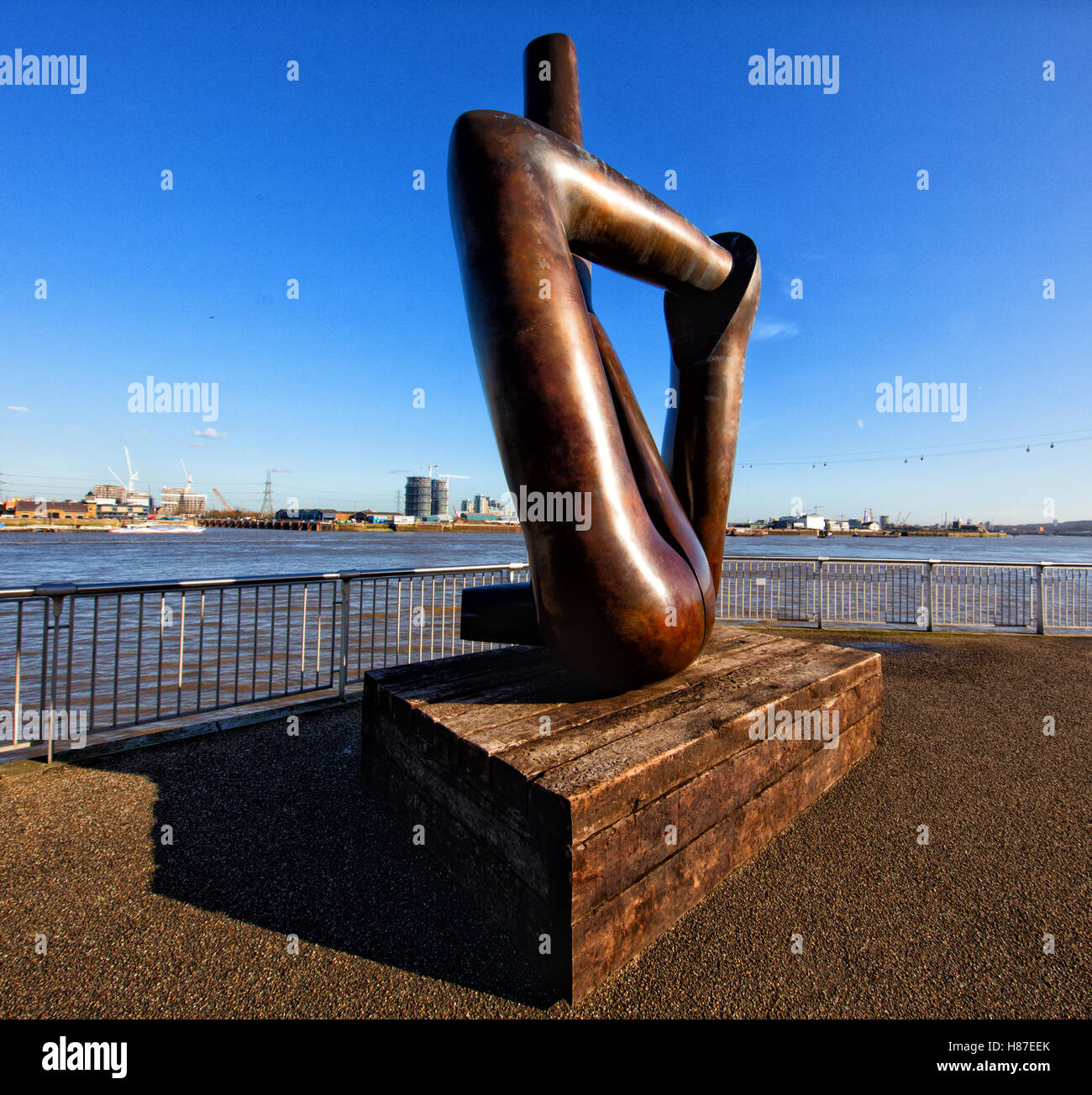 Gary Hume's Liberty Grip bronze sculpture on the Greenwich Peninsula close to the O2 dome in London UK - Stock Image