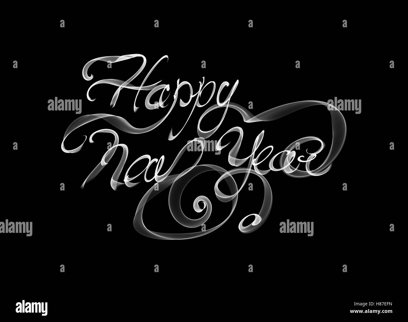 happy new year isolated words written with white flame or smoke on black background