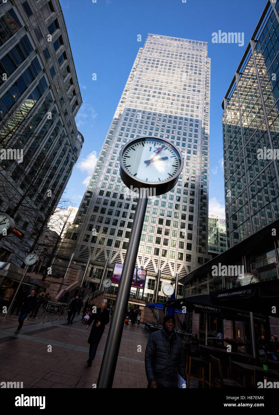 One Canada Square is the keynote building of Canary Wharf business and financial centre in London UK - Stock Image