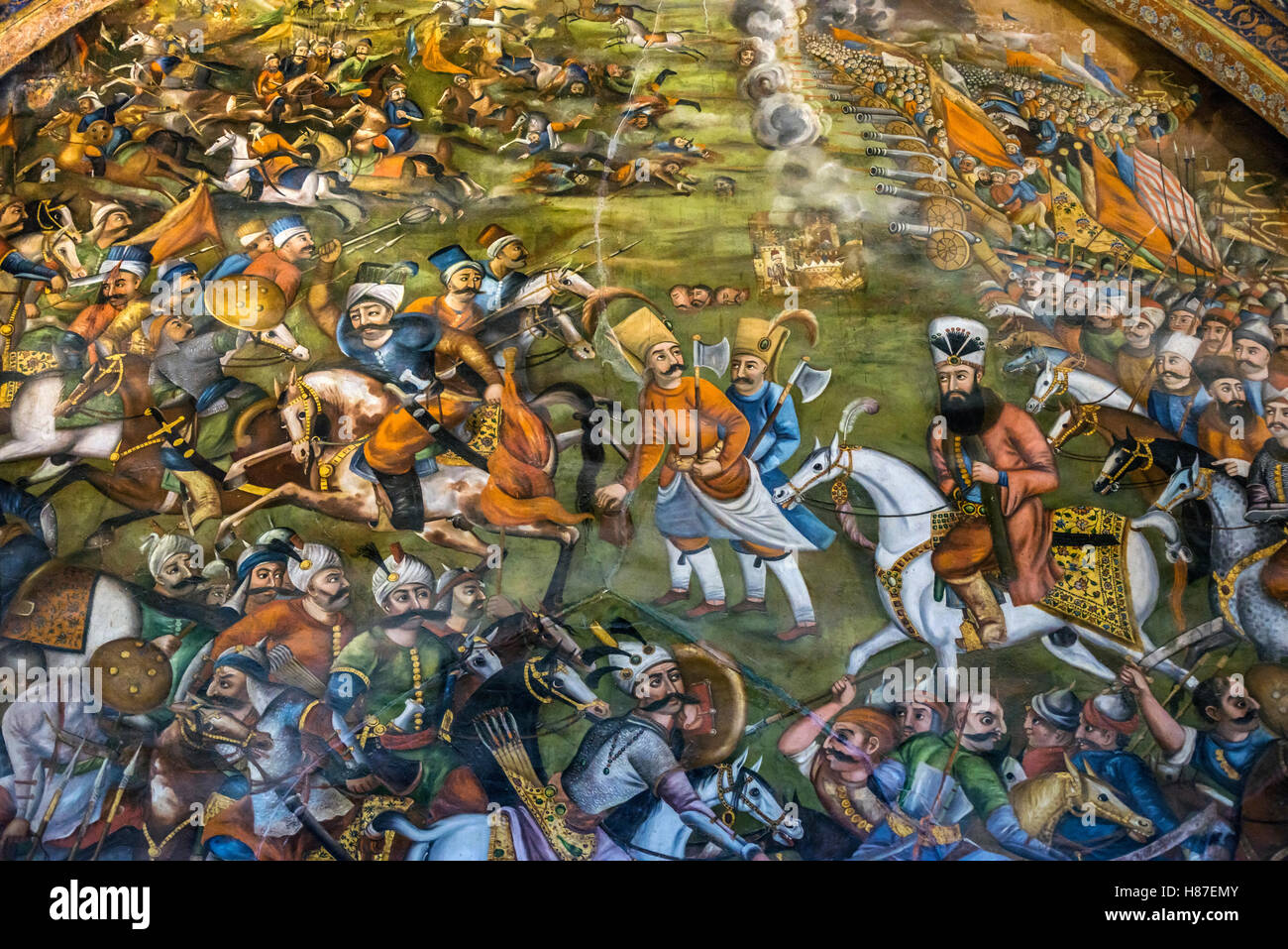 Colorful fresco of Chaldiran Battle between Ottomans and Persians forty columns palace in Isfahan Iran Stock Photo