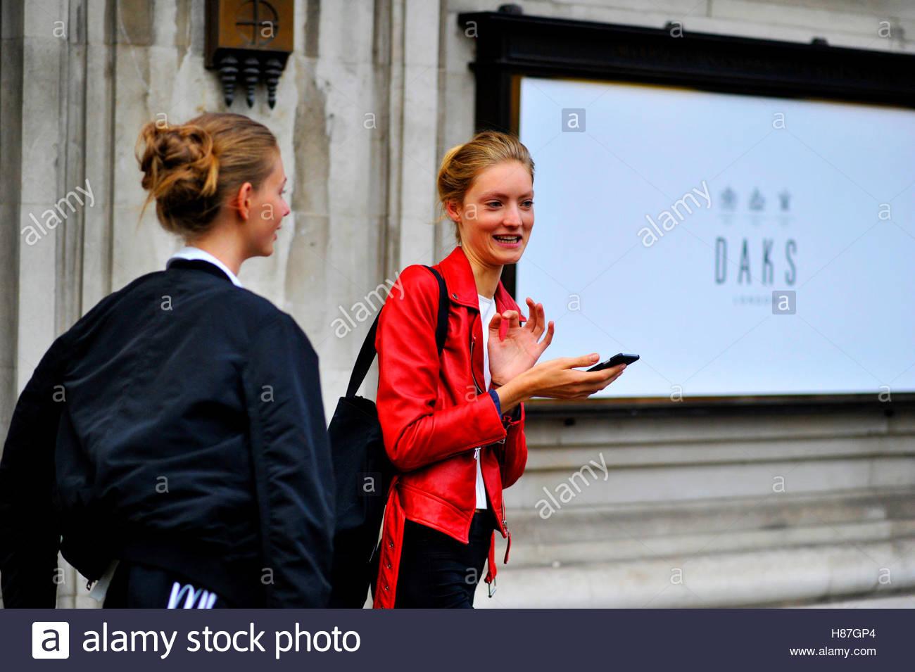 Models after Daks fashion show London Fashion Week SS17 FW16 Street Style September 16 2016. - Stock Image