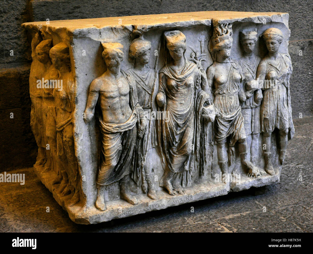 Base with portrayal of the Asian Provinces. 1st century Ad. Marble, from Pozzuoli, Italy. National Archaeological - Stock Image