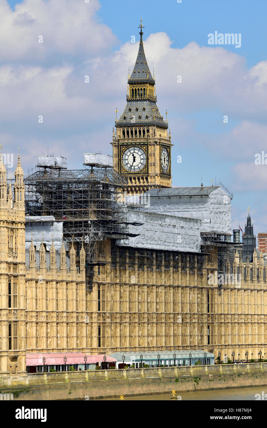 London, England, UK. Houses of Parliament under repair, August 2016 Stock Photo