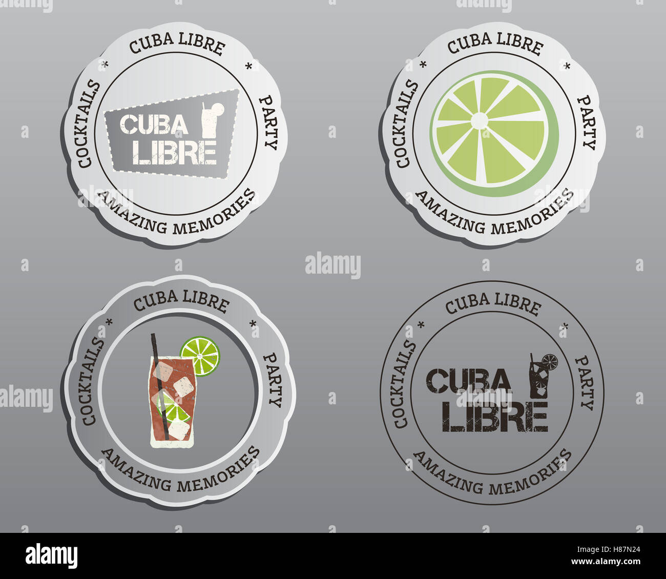 Summer Cocktail Party Badges Labels And Logo Layout Templates With - Logo layout templates