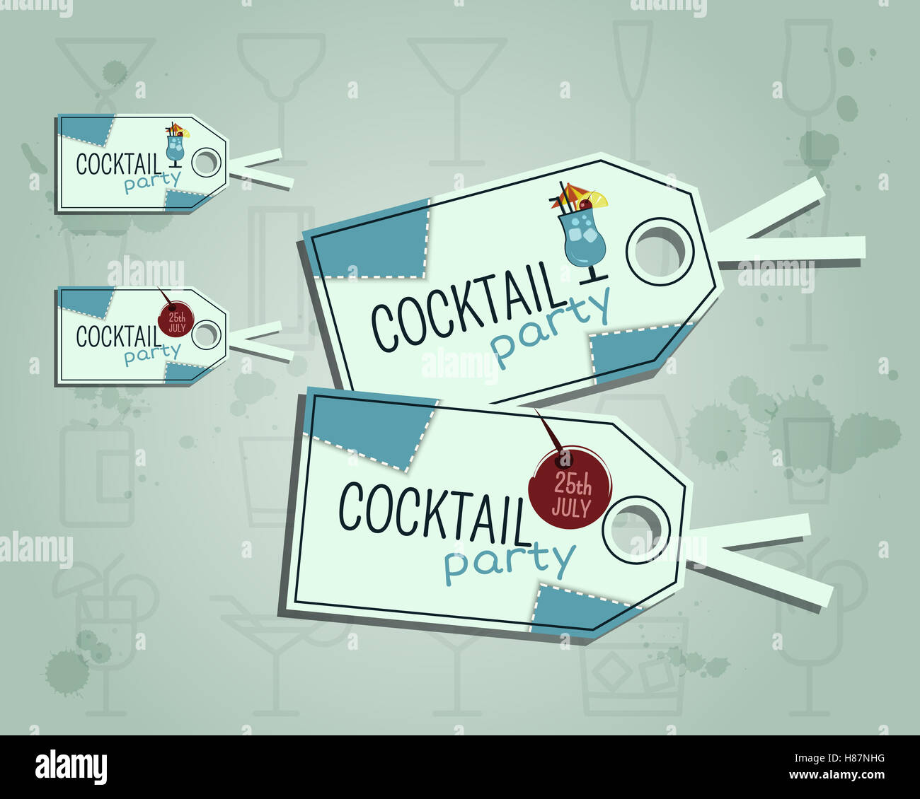 Summer Cocktail Party Sticker And Label Layout Template With Blue - Sticker layout template