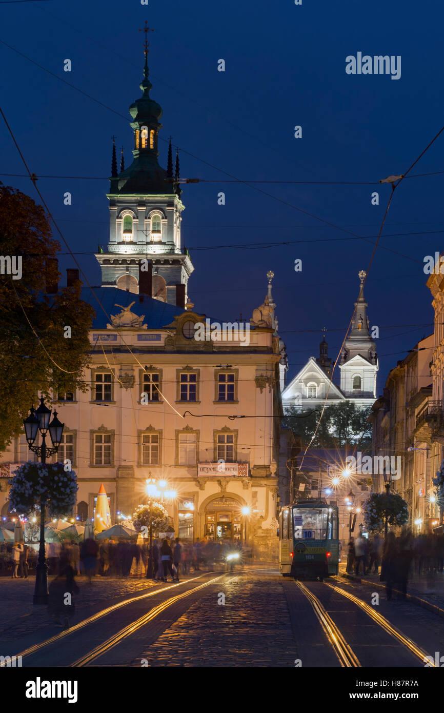 The Rynok Square at blue hour in Lviv , Ukraine - Stock Image