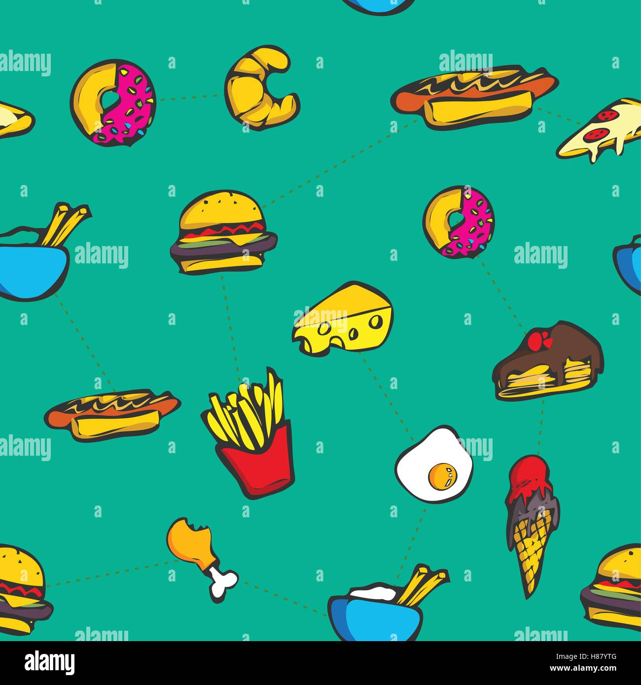 Decorative colorful food seamless background vector pattern - Stock Vector