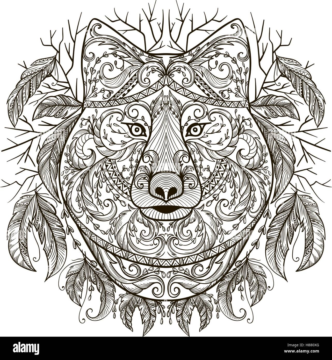 c0f65d6bd Wolf head with tribal aztec ornament in boho style. Tattoo art. Vintage  hand drawn