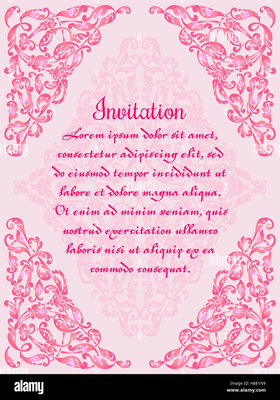 Wedding invitation or greeting card with lace frame on pink stock wedding invitation or greeting card with lace frame on pink background vector ornate floral background easy to edit perfect fo stopboris Images