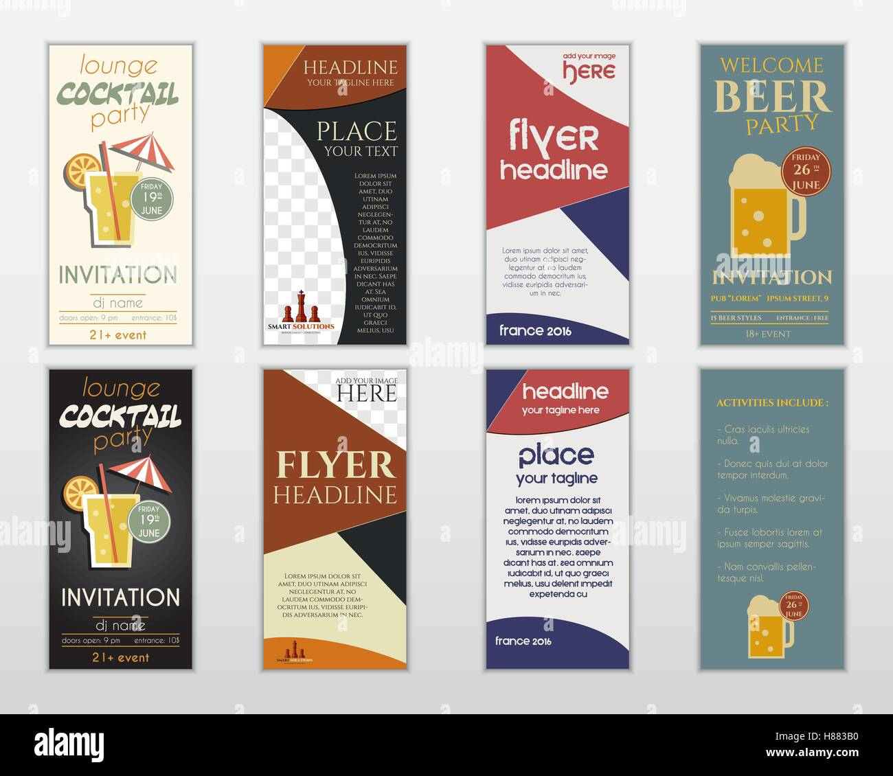 set of flyer layout templates cocktail lounge party business stock