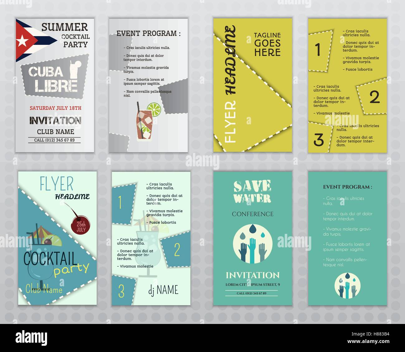Set Of Flyer Layout Templates Cocktail Party Business Save Water