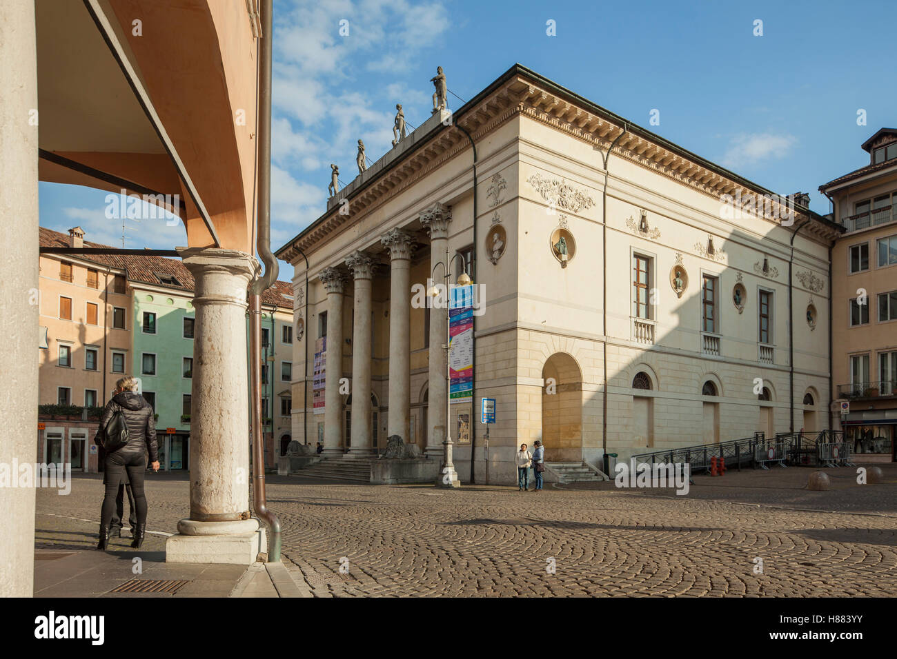 Communal Theatre in Belluno old town, Veneto, northern Italy. - Stock Image