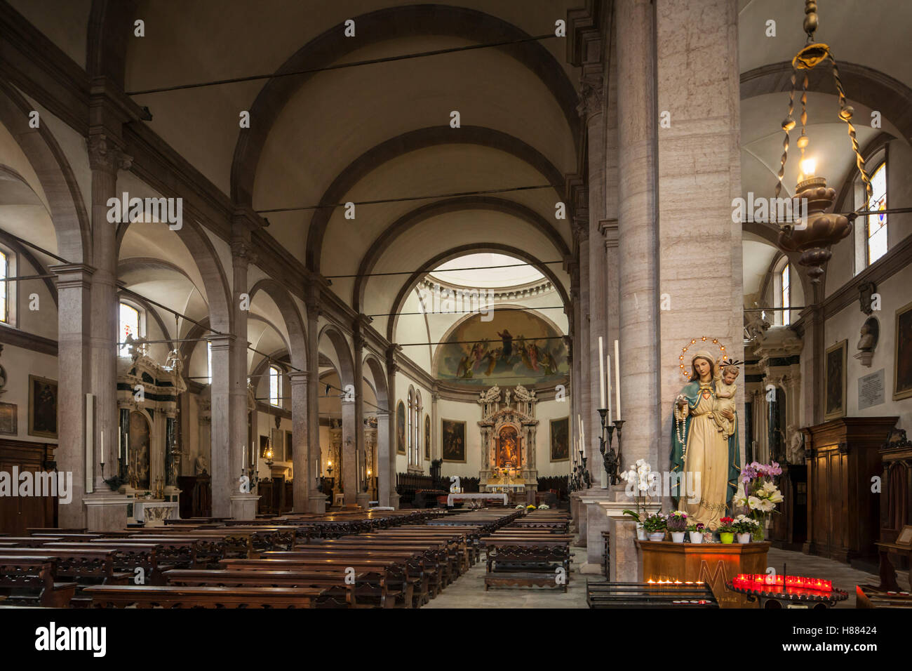 Interior of Basilica Minore di San Martino in Belluno, northern Italy. - Stock Image