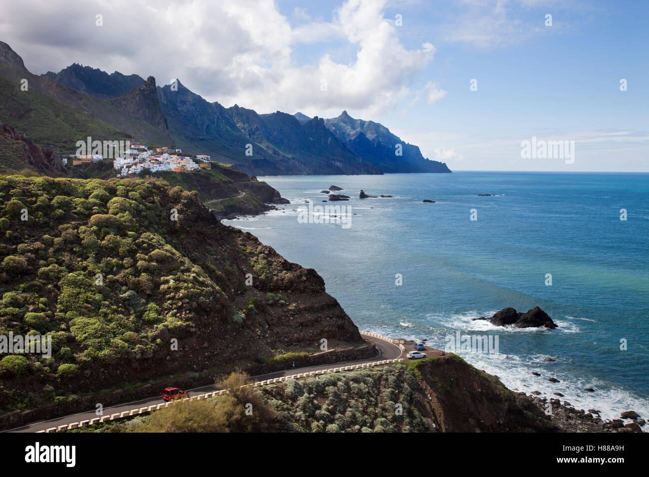 View with Taganana village, Anaga Mountains, Parque Rural Anaga, Tenerife island, Canary archipelago, Spain, Europe Stock Photo