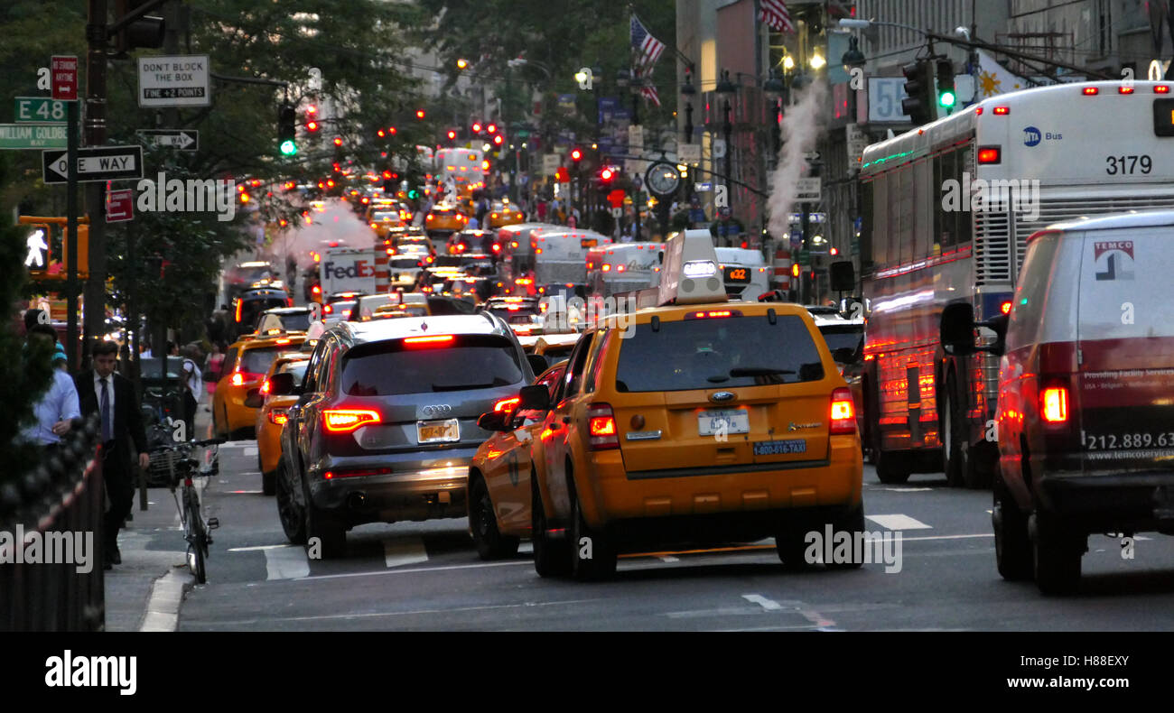 NEW YORK, UNITED STATES. AUGUST 24TH 2016. Pedestrians walking and traffic in New York City Stock Photo
