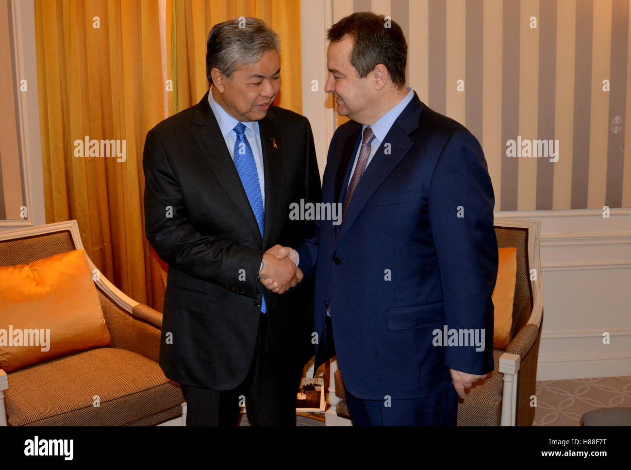 NEW YORK, UNITED STATES - AUGUST 24TH, 2016. Meeting of the minister of Foreign Affairs of Serbia Ivica Dacic and Ahmad Zahid Ha Stock Photo