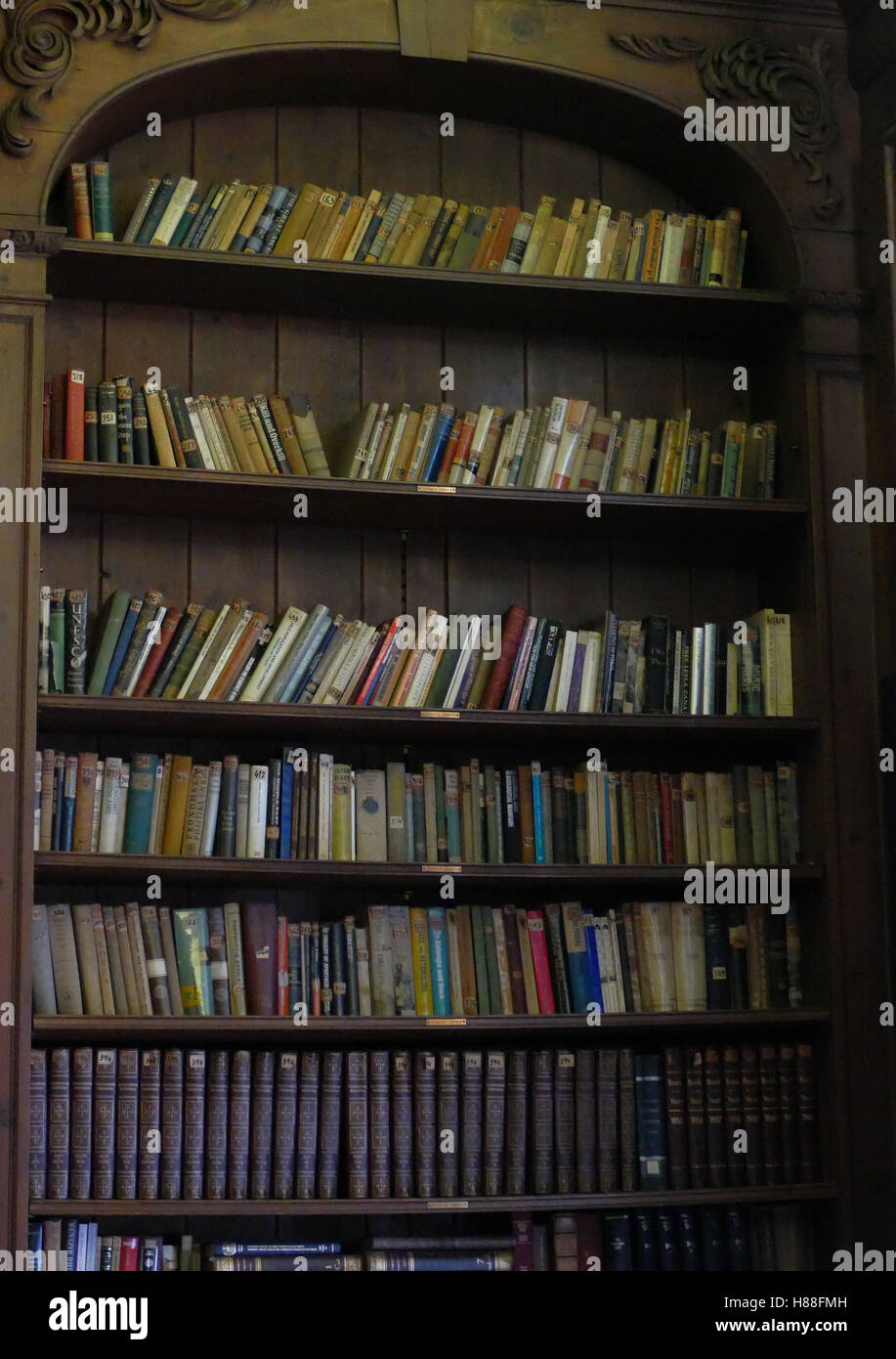 Wooden book shelves with old library books - Stock Image
