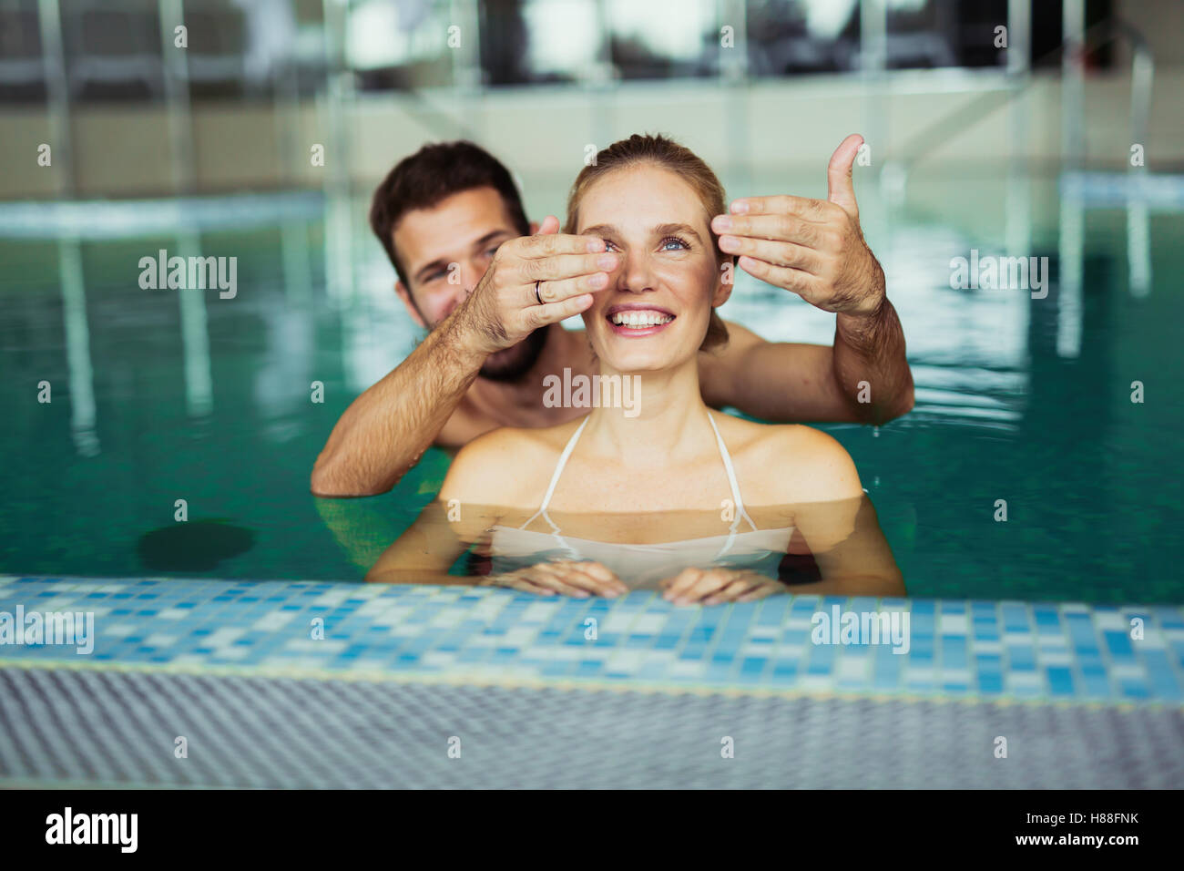 Romantic Couple Enjoying Thermal Bath Spa And Wellness Center