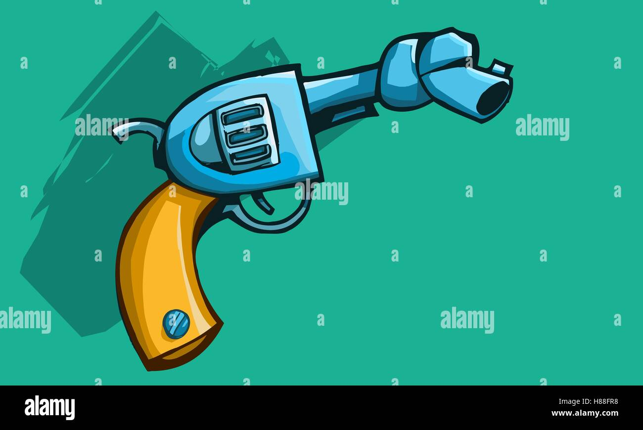 Vector illustration of a old revolver gun or pistol with tied barrel - Stock Vector