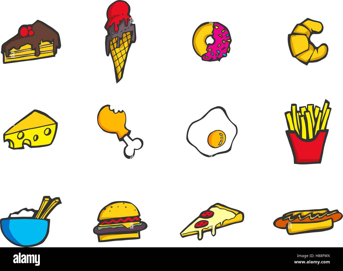 Set of colorful hand drawn cartoon style food and desserts icon. - Stock Vector