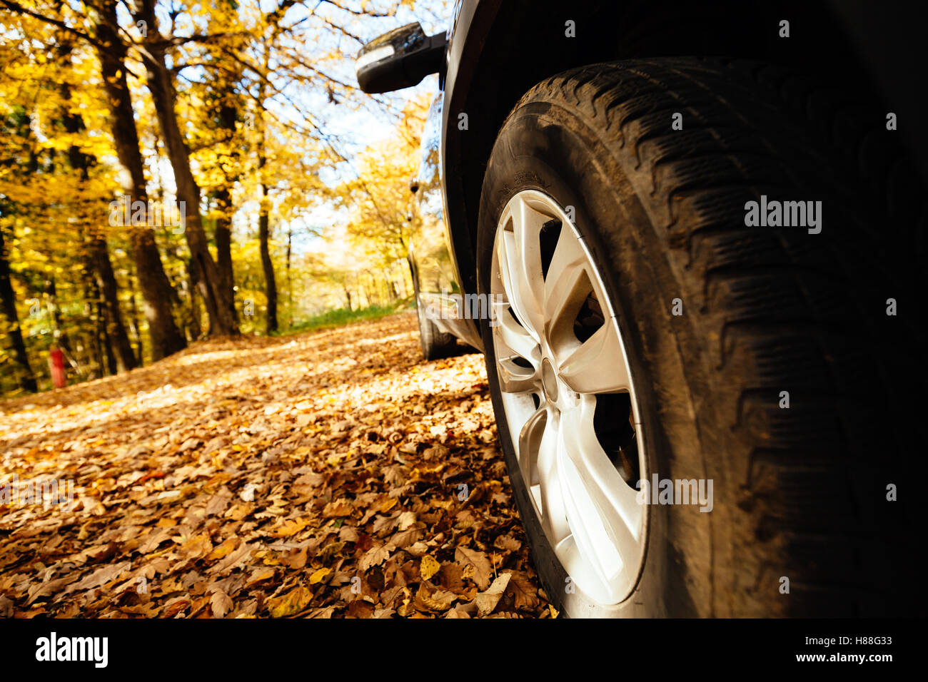 Tyres fitted on car for off road and slippery roads - Stock Image