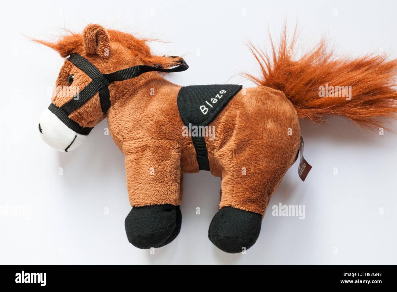 Posh Ponies Blaze soft cuddly toy set on white background - Stock Image