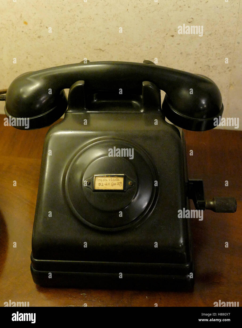 Old telephone with dust and scratches Stock Photo