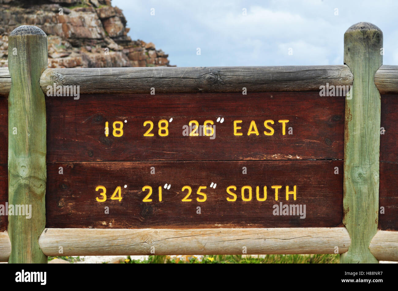 South Africa: the coordinates of the Cape of Good Hope, rocky headland on the Atlantic coast of Cape Peninsula, - Stock Image