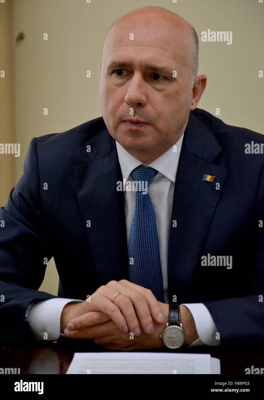 Chisinau, Moldova. October 6th 2016 - Prime minister of Moldova, Pavel Filip during the meeting - Stock Image