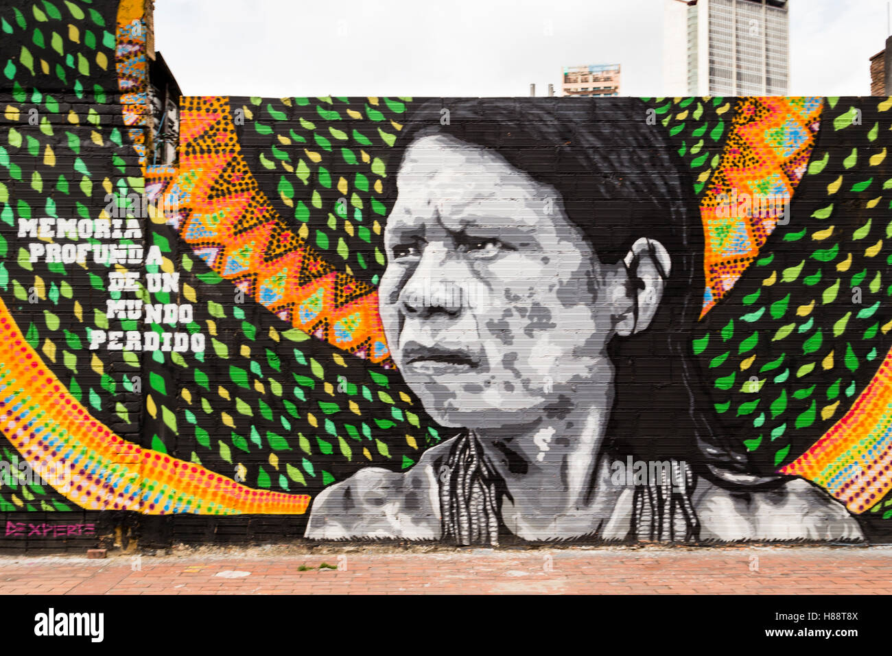 Street art, mural, Bogota, District of Santafe, Colombia - Stock Image