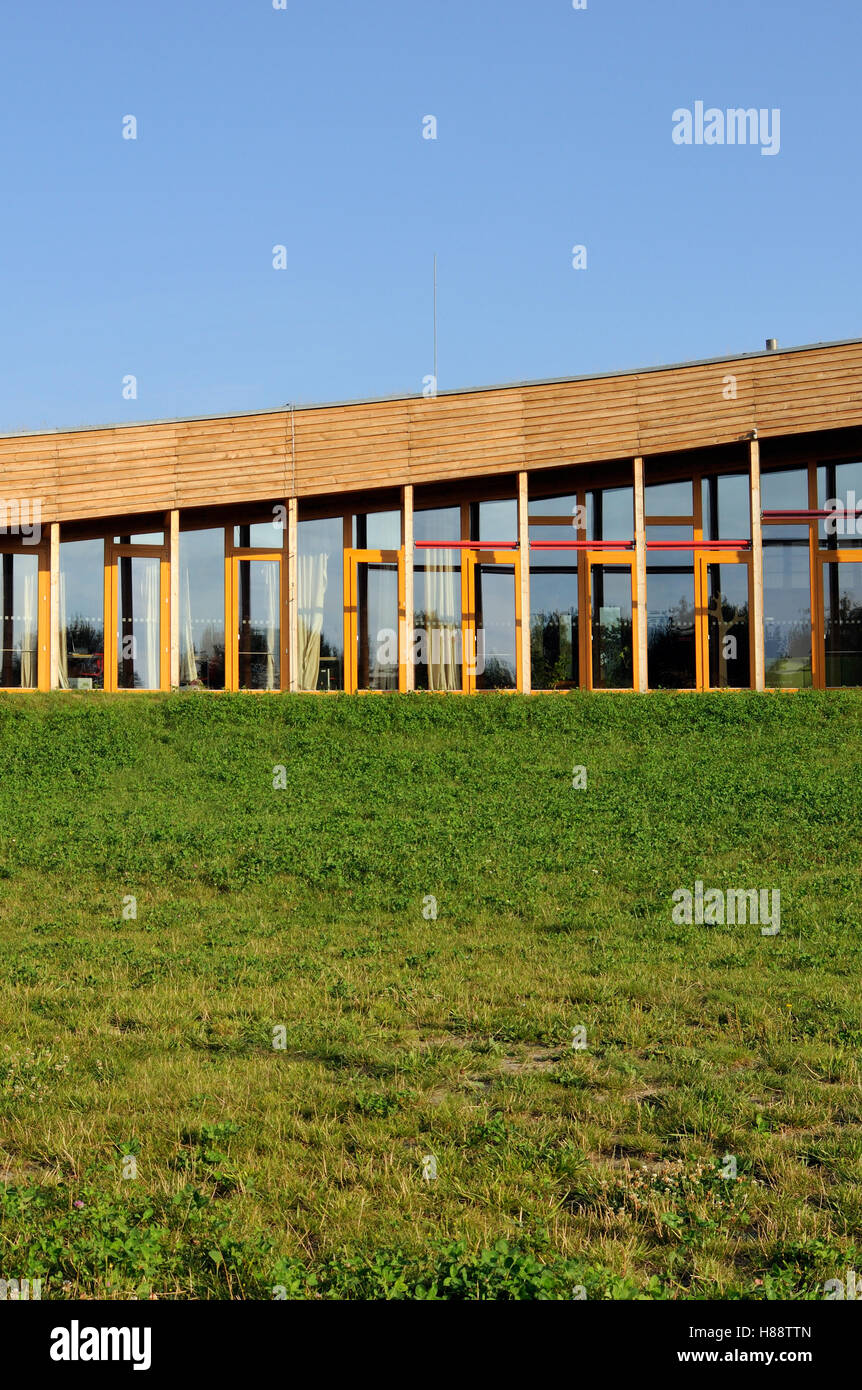 Southern facade of the low-energy sustainable building of Slunakov Center for Ecological and Educational Activities, - Stock Image