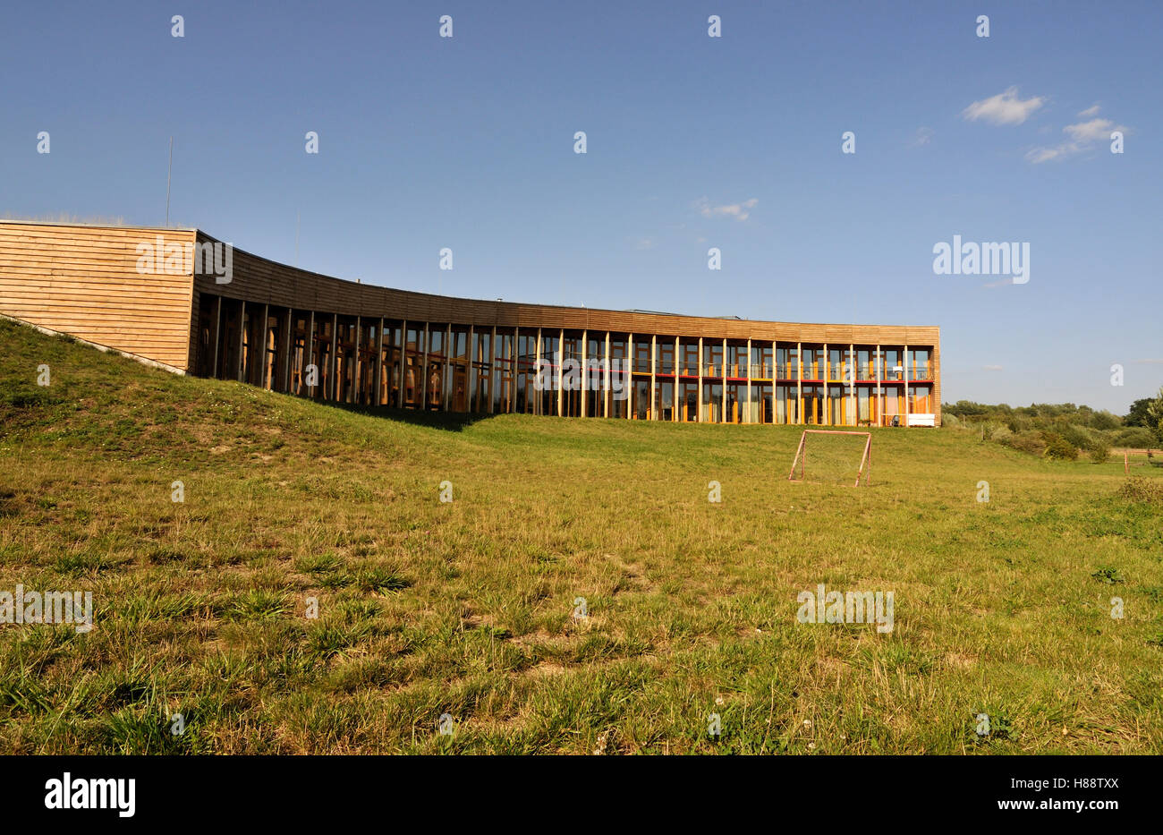 Low-energy sustainable building of Slunakov Center for Ecological and Educational Activities, design by Projektil - Stock Image